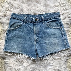 Vintage Rustler Raw Fringe Hem Cutoff Denim Shorts